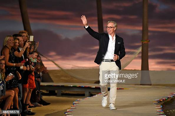 Fashion designer Tommy Hilfiger walks the runway at the Tommy Hilfiger Women's Spring Summer 2016 fashion show during the New York Fashion Week on...