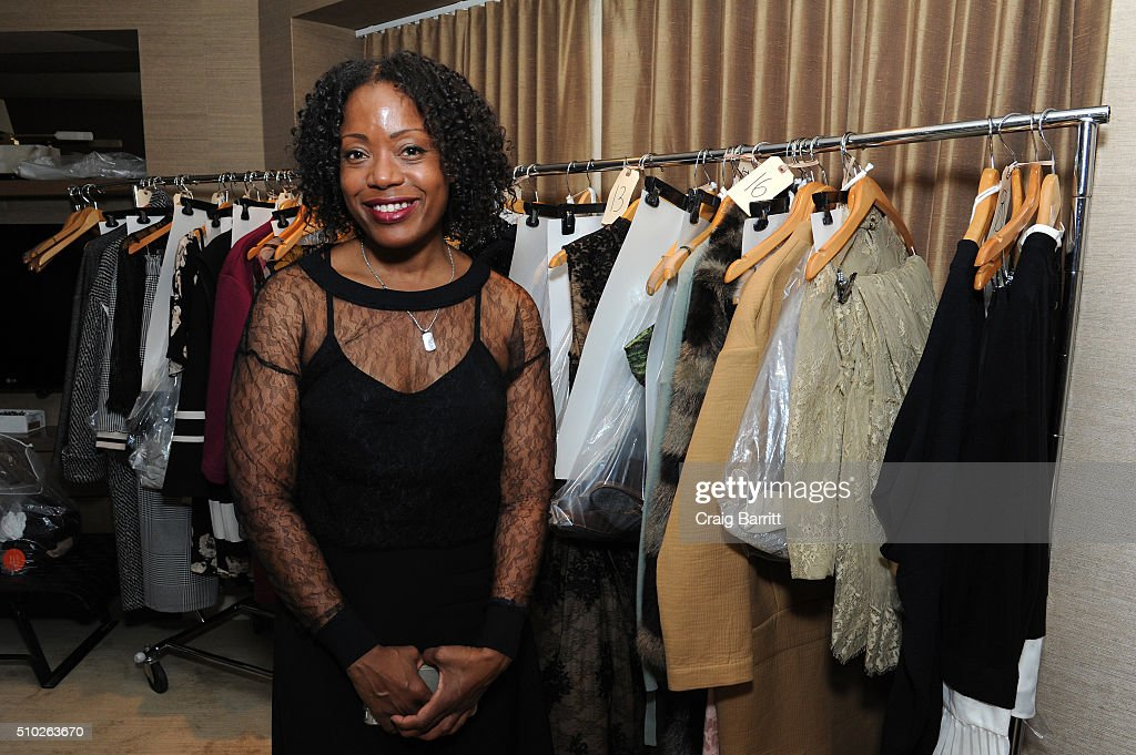 Fashion designer Tracy Reese poses backstage at Mary Kay at Tracy Reese F/W '16- Presentation during New York Fashion Week at Roxy Hotel on February 14, 2016 in New York City.