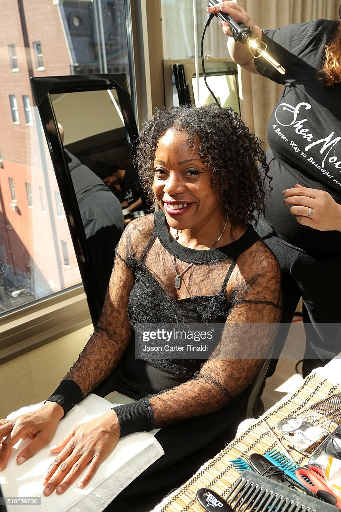 Fashion designer Tracy Reese prepares backstage during SheaMoisture at Tracy Reese F/W 2016 NYFW at Roxy Hotel on February 14, 2016 in New York City.