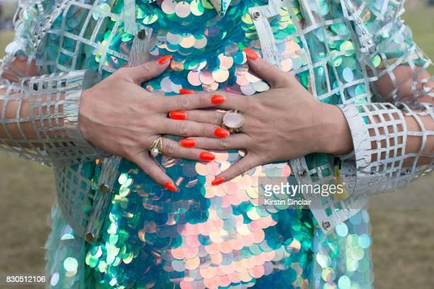 Fashion Designer Twinks Burnett wears a Jane Bowler jacket Rosa Bloom top Tessa Metcalfe rings and a Louise O'Mahony Lom Kimono on day 3 of...