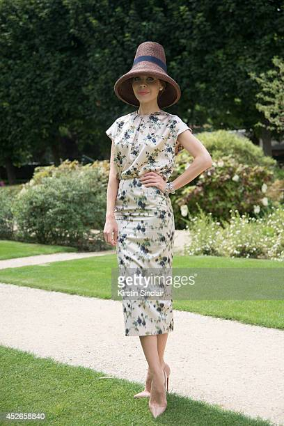 Fashion Designer Ulyana Sergeenko wearing a Rochas dress DSquared hat and Christian Louboutin shoes day 2 of Paris Haute Couture Fashion Week...