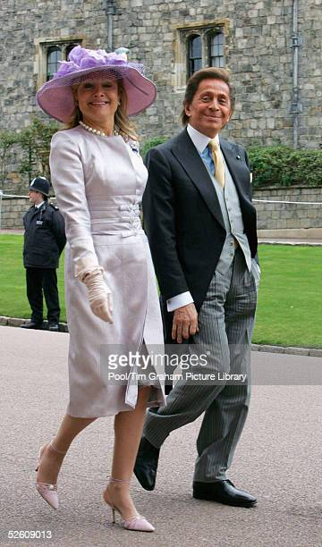 Fashion designer Valentino and Baroness Silvia de Waldner attend the Service of Prayer and Dedication blessing the marriage of TRH Prince Charles the...