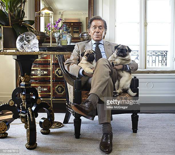Fashion designer Valentino at his New York City apartment with pugs Mary and Maude in 2010 Published image
