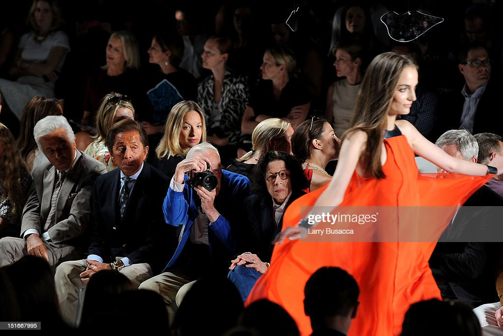Fashion designer Valentino Garavani (2nd L) attends the Diane Von Furstenberg Spring 2013 fashion show during Mercedes-Benz Fashion Week at The Theatre at Lincoln Center on September 9, 2012 in New York City.