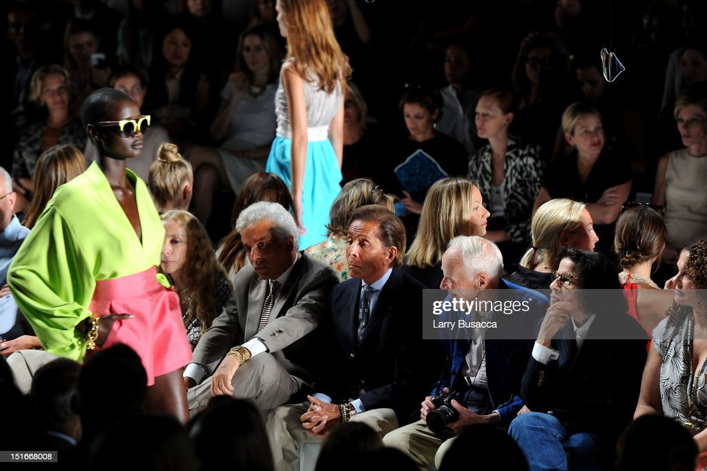 Fashion designer Valentino Garavani (C) attends the Diane Von Furstenberg Spring 2013 fashion show during Mercedes-Benz Fashion Week at The Theatre at Lincoln Center on September 9, 2012 in New York City.
