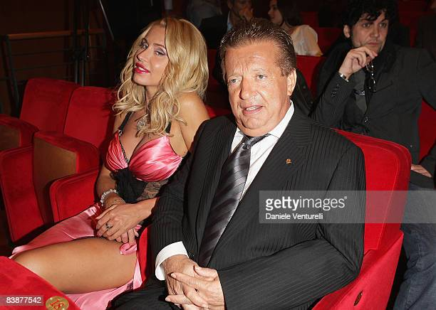 Fashion designer Valeria Marini and producer Vittorio Cecchi Gori attends the Marc'Aurelio Acting Award Ceremony during the 3rd Rome International...