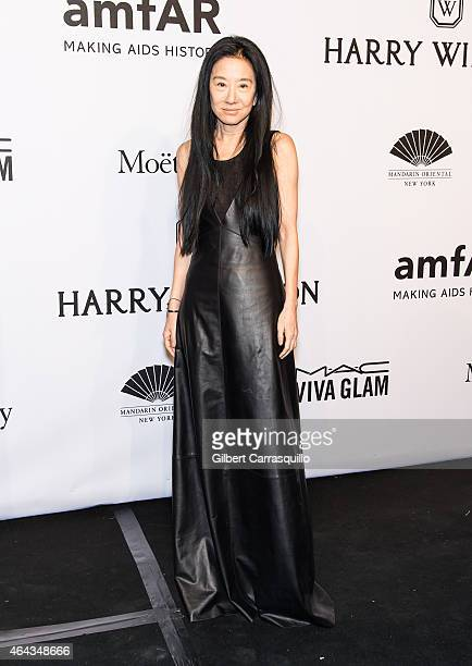 Fashion designer Vera Wang attends the 2015 amfAR New York Gala at Cipriani Wall Street on February 11 2015 in New York City