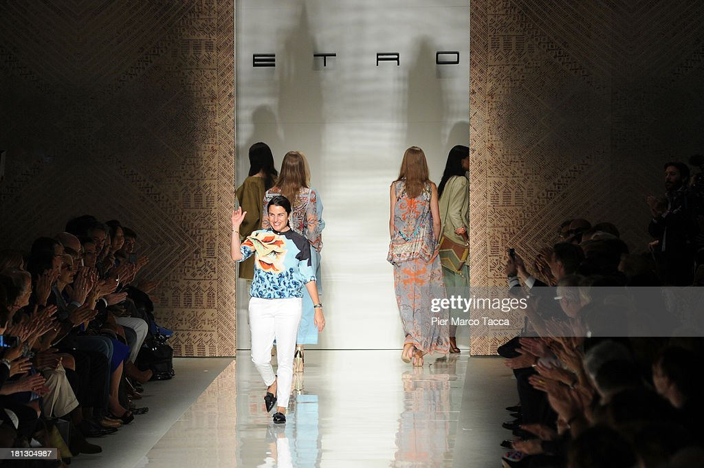 Fashion designer <a gi-track='captionPersonalityLinkClicked' href=/galleries/search?phrase=Veronica+Etro&family=editorial&specificpeople=3868212 ng-click='$event.stopPropagation()'>Veronica Etro</a> walks the runway after her show as a part of Milan Fashion Week Womenswear Spring/Summer 2014 on September 20, 2013 in Milan, Italy.