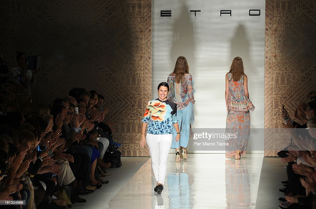 Fashion designer Veronica Etro walks the runway after her show as a part of Milan Fashion Week Womenswear Spring/Summer 2014 on September 20, 2013 in Milan, Italy.