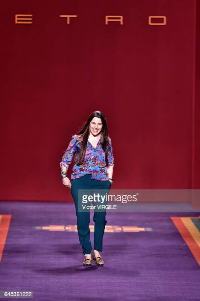 Fashion designer Veronica Etro walks the runway at the Etro Ready to Wear fashion show during Milan Fashion Week Fall/Winter 2017/18 on February 24...