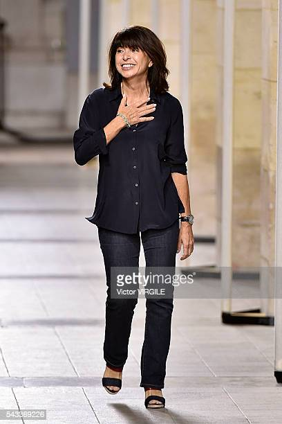 Fashion designer Veronique Nichanian walks the runway during the Hermes Menswear Spring/Summer 2017 show as part of Paris Fashion Week on June 25...