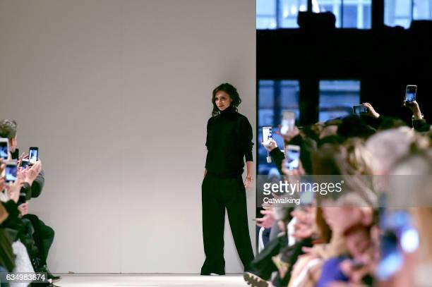 Fashion designer Victoria Beckham walks the runway finale at the Victoria Beckham Autumn Winter 2017 fashion show during New York Fashion Week on...