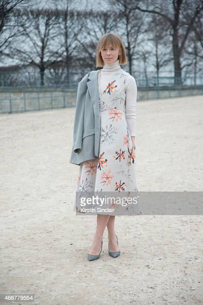 Fashion designer Vika Gazinskaya wears her own jacket and dress on day 8 of Paris Collections Women on March 10 2015 in Paris France