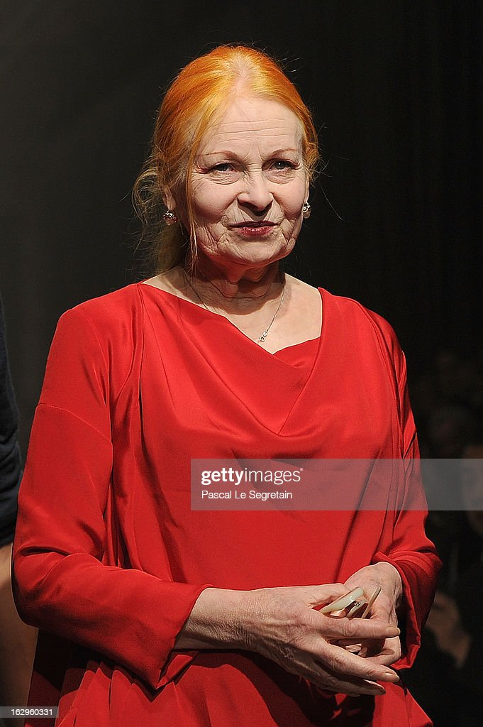 Fashion designer Vivienne Westwood acknowledges applause following her Fall/Winter 2013 ReadytoWear show as part of Paris Fashion Week on March 2...