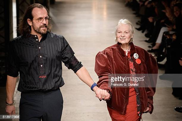 Fashion designer Vivienne Westwood and Andreas Kronthaler acknowledge applause following the Vivienne Westwood show as part of the Paris Fashion Week...