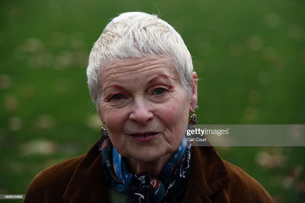 Fashion designer Vivienne Westwood poses for a photograph after delivering an antifracking letter at 10 Downing Street on December 18 2014 in London...