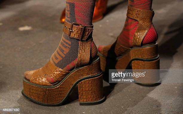 Fashion designer Vivienne Westwood shoe detail ahead of her Red Label show during London Fashion Week Spring/Summer 2016 on September 20 2015 in...