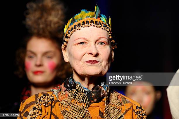 Fashion designer Vivienne Westwood walks the runway during the Vivienne Westwood show as part of the Paris Fashion Week Womenswear Fall/Winter...