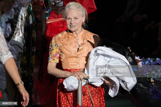 Fashion designer Vivienne Westwood walks the runway during the Vivienne Westwood show as part of the Paris Fashion Week Womenswear Spring/Summer 2018...