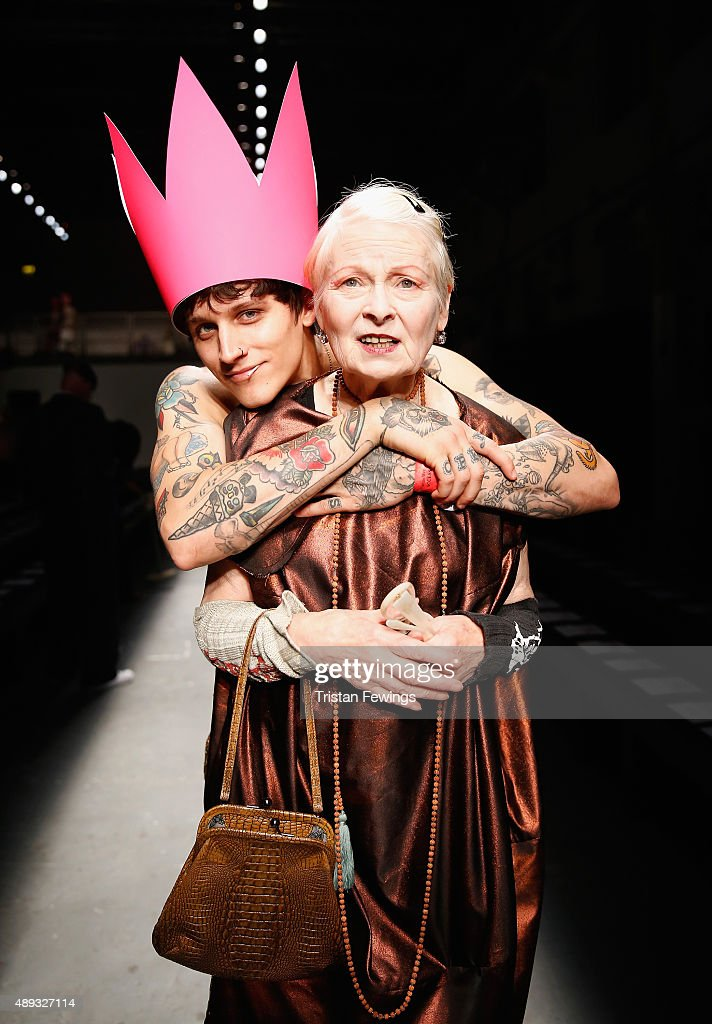 Fashion designer Vivienne Westwood with a model ahead of her Red Label show during London Fashion Week Spring/Summer 2016 on September 20 2015 in...