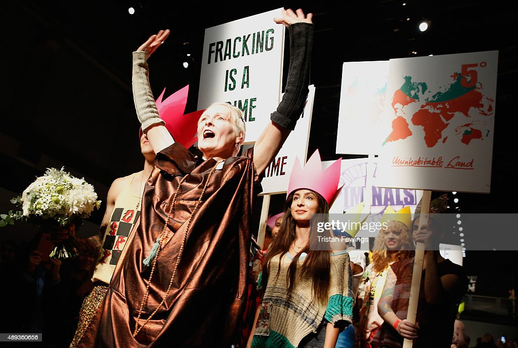 Fashion designer Vivienne Westwood with protesters and models on the runway after her Red Label show during London Fashion Week Spring/Summer 2016 on...