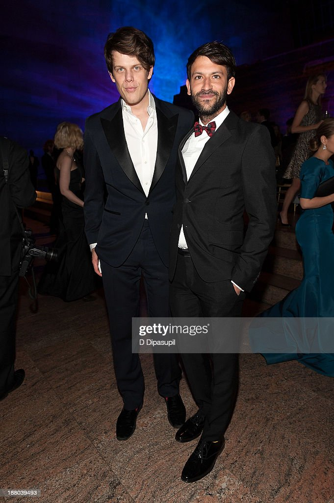 Fashion designer Wes Gordon (L) and Paul Arnhold attend the 10th annual Apollo Circle benefit at the Metropolitan Museum of Art on November 14, 2013 in New York City.
