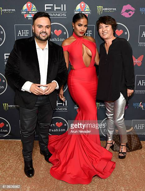 Fashion designer Willfredo Gerardo makeup artist Makeup Shayla and SIWY CEO Kris Park attend Art Hearts Fashion Los Angeles Fashion Week Day 2 on...
