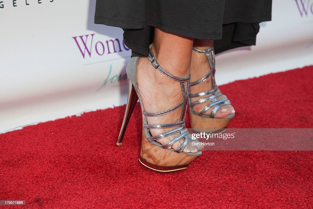Fashion designer Xochi Medina (shoe detail) attends the Women Like Us Foundation's One Girl at a Time Fundraiser at the Aventine Hollywood on July 30, 2013 in Hollywood, California.
