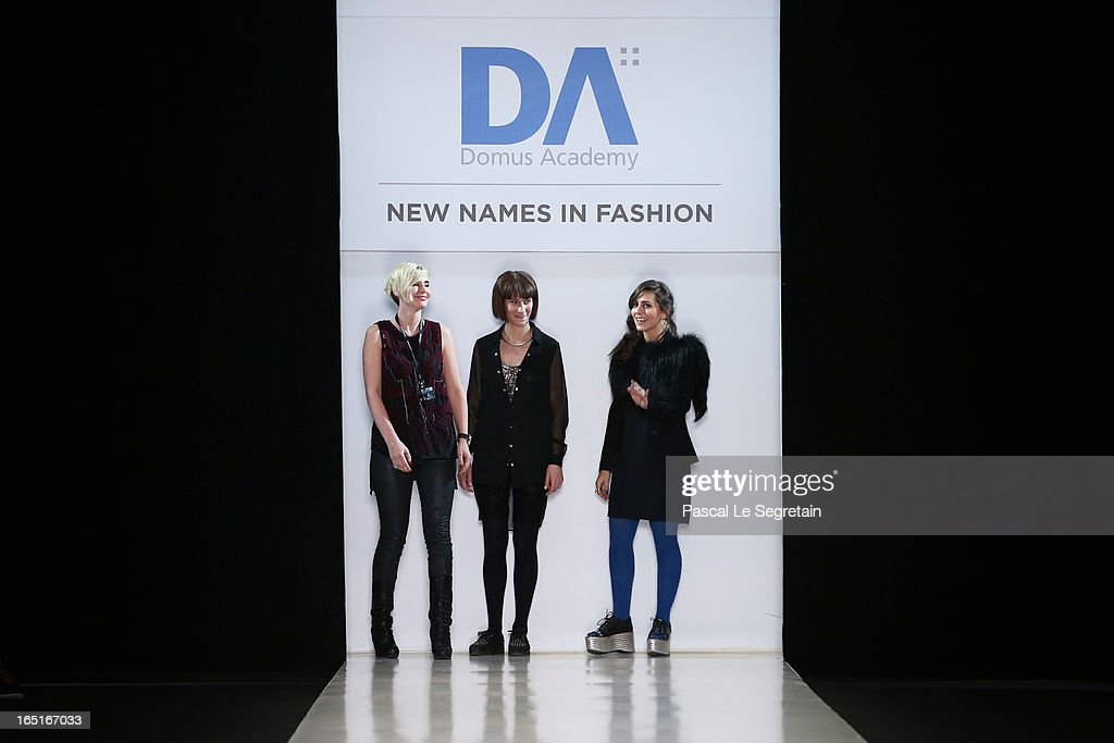 Fashion designer Yana Kushnareva (L), Cora Maria Bellotto and Alina Bianca Ciobotaru (R) acknowledge applause following the Domus Academy Collective Show during Mercedes-Benz Fashion Week Russia Fall/Winter 2013/2014 at Manege on April 1, 2013 in Moscow, Russia.