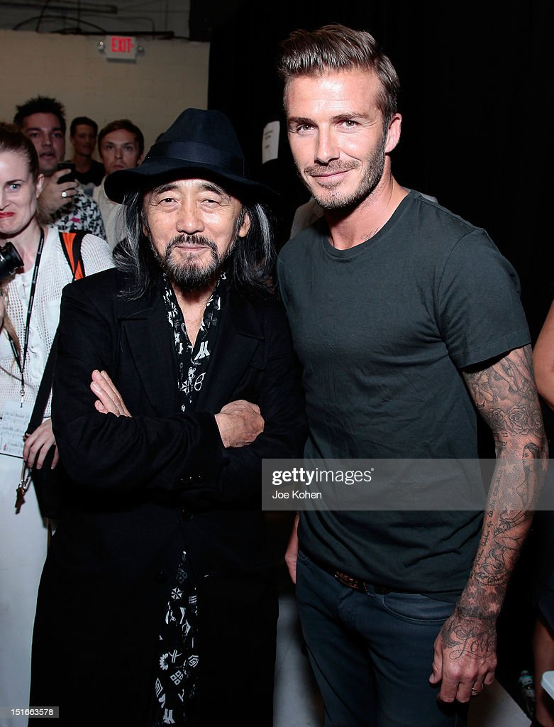 Fashion designer Yohji Yamamoto (L) and professional soccer player <a gi-track='captionPersonalityLinkClicked' href=/galleries/search?phrase=David+Beckham&family=editorial&specificpeople=158480 ng-click='$event.stopPropagation()'>David Beckham</a> attend the Y-3 10th Anniversary Collection at St. John's Center on September 9, 2012 in New York City.