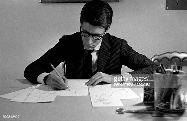 Fashion Designer Yves Saint Laurent Working in his Office in Paris France in 1950