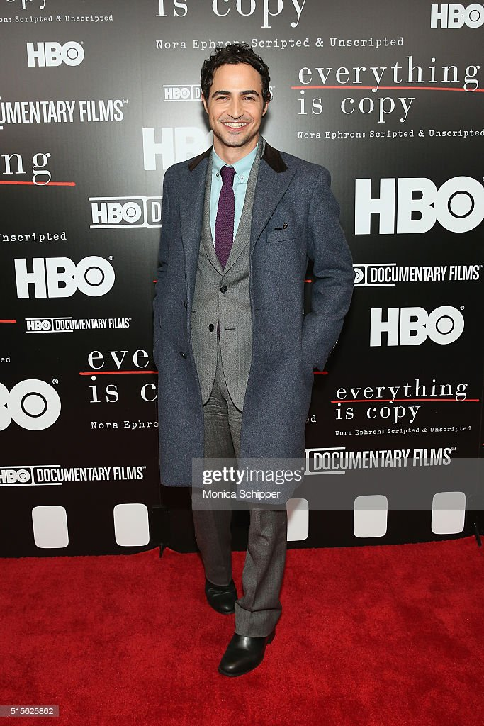 Fashion designer Zac Posen attends the 'Everything Is Copy Nora Ephron Scripted Unscripted' New York Special Screening at The Museum of Modern Art on...