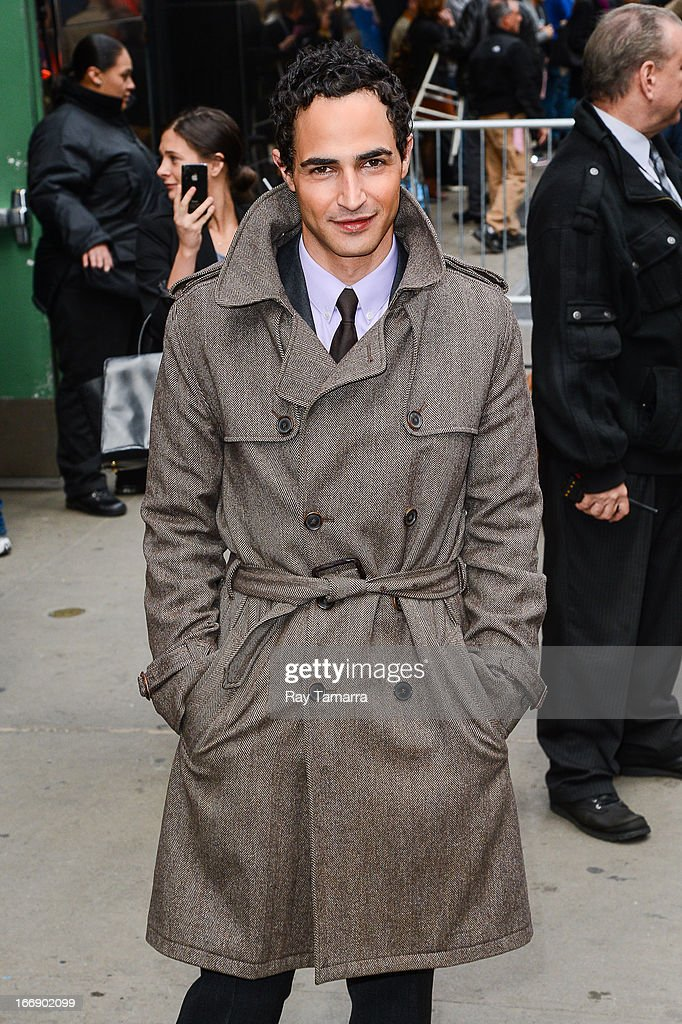 Fashion designer Zac Posen leaves the 'Good Morning America' taping at the ABC Times Square Studios on April 18, 2013 in New York City.