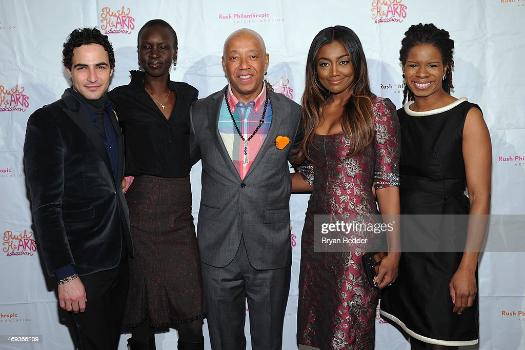 Fashion designer Zac Posen model Alek Wek Russell Simmons actress Patina Miller and Executive Director at Rush Philanthropic Arts Foundation Tangie...