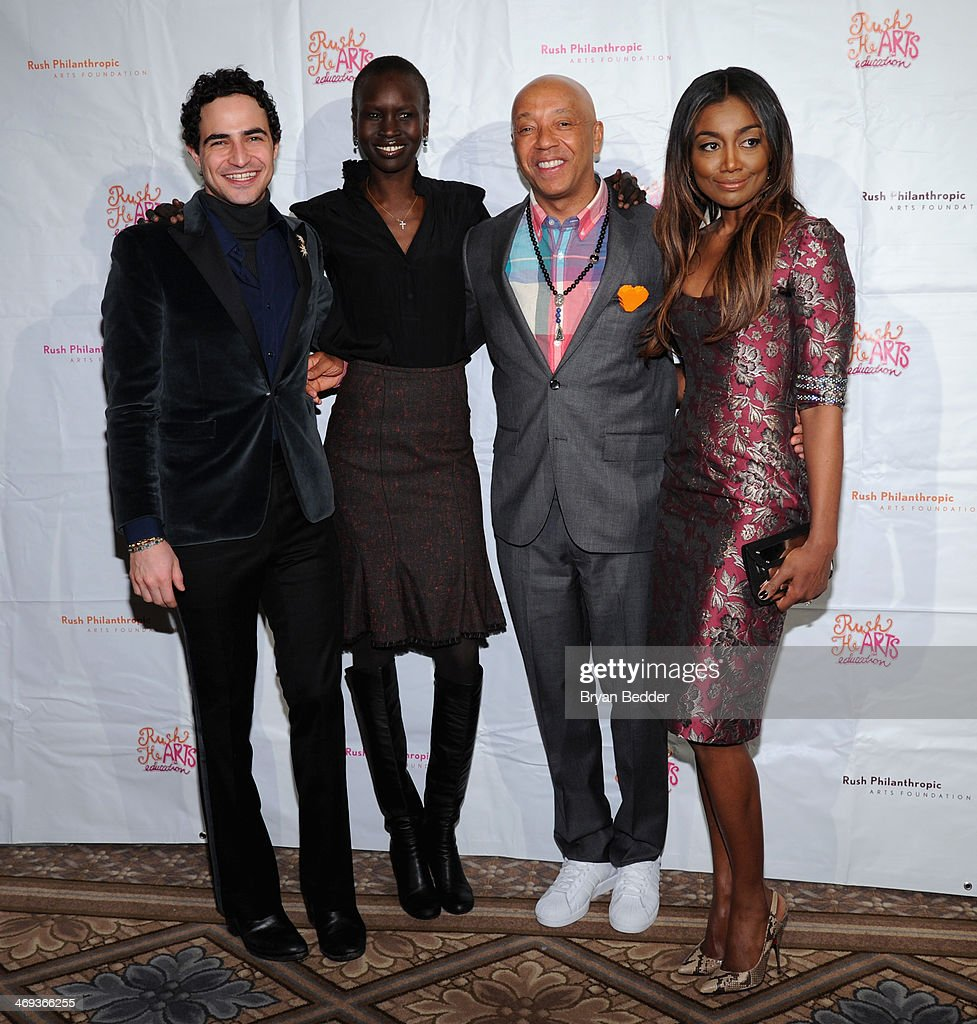 Fashion designer Zac Posen model Alek Wek Russell Simmons and actress Patina Miller attend the Rush HeARTS Education Luncheon at The Plaza Hotel on...