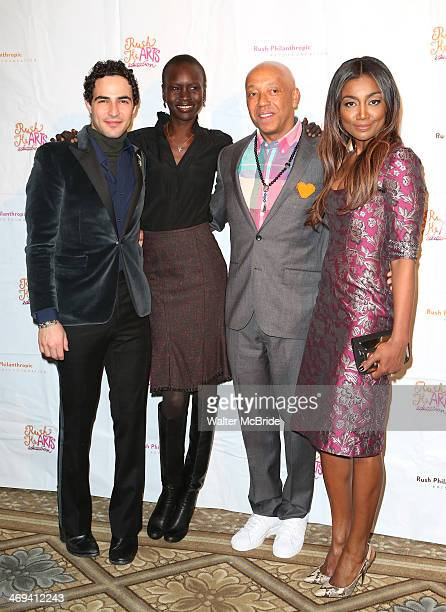 Fashion designer Zac Posen model Alek Wek Russell Simmons and actress Patina Miller attends the Rush HeARTS Education Luncheon at The Plaza Hotel on...