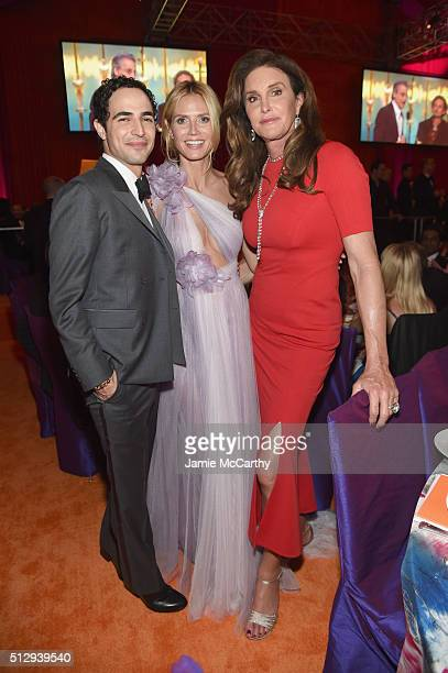 Fashion designer Zac Posen model Heidi Klum and tv personality Caitlyn Jenner attend the 24th Annual Elton John AIDS Foundation's Oscar Viewing Party...