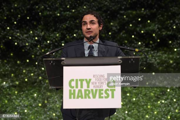 Fashion designer Zac Posen speaks onstage at the City Harvest's 23rd Annual Evening Of Practical Magic at Cipriani 42nd Street on April 25 2017 in...