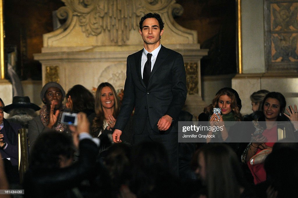 Fashion designer Zac Posen walks the runway at the Zac Posen Fall 2013 Mercedes-Benz Fashion Show at The Plaza Hotel on February 10, 2013 in New York City.