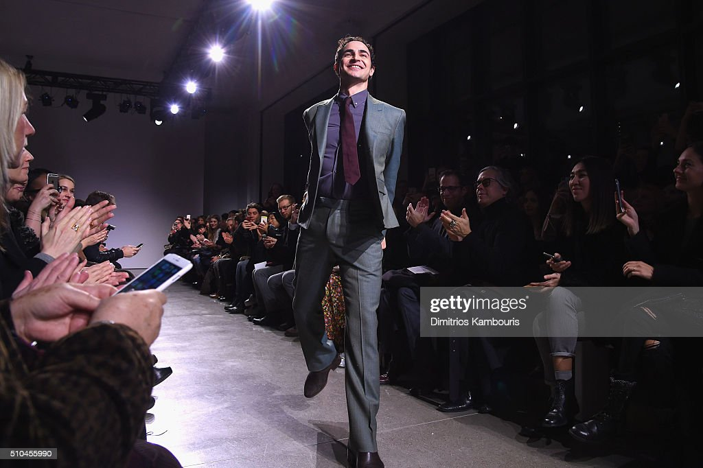 Fashion designer Zac Posen walks the runway at the Zac Posen Fall 2016 fashion show during New York Fashion Week at Spring Studios on February 15...