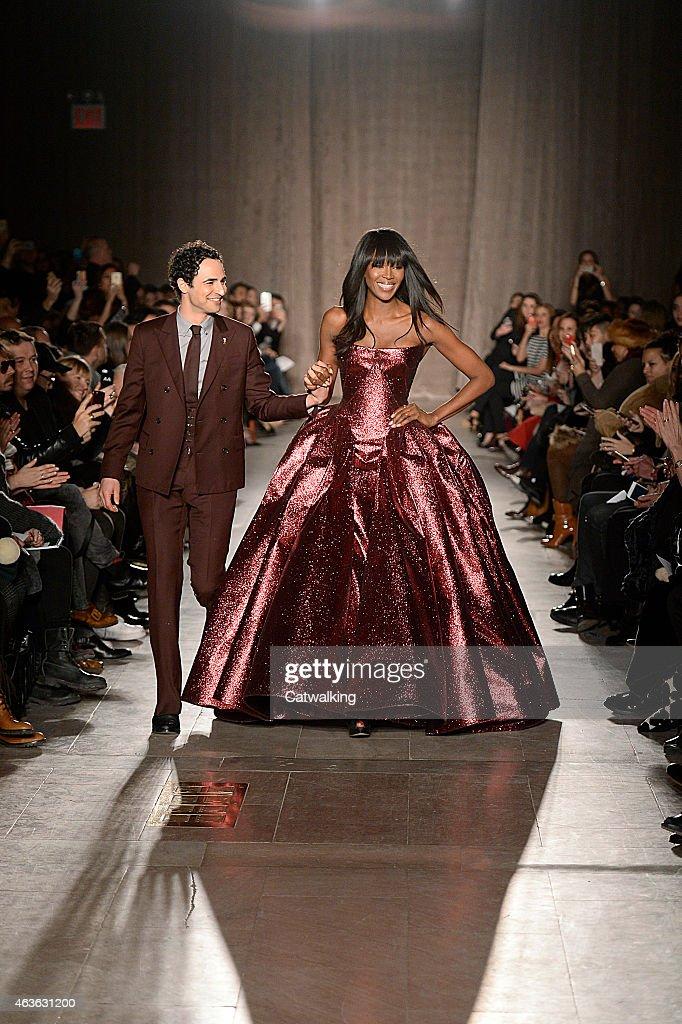 Fashion designer Zac Posen walks the runway with Supermodel Naomi Campbell at the Zac Posen Autumn Winter 2015 fashion show during New York Fashion...