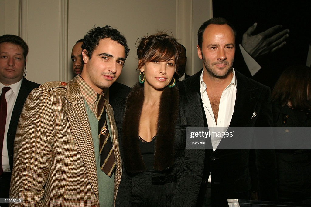 Fashion designer Zac Posen with actress Gina Gershon and fashion designer Tom Ford at the book launch party for 'Tom Ford:Ten Years' at Bergdorf Goodman October 20, 2004 in New York City. (Photo by Bowers/Getty Images).