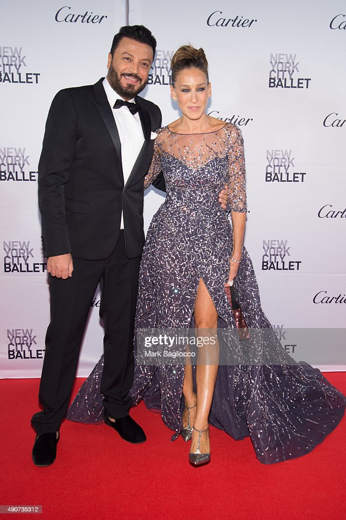 Fashion Designer Zuhair Murad (L) and Actress Sarah Jessica Parker attend the 2015 New York City Ballet Fall Gala at the David H. Koch Theater at Lincoln Center on September 30, 2015 in New York City.