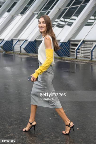 Fashion designers and Co Founder of fashion label Attico Giorgia Tordini wears a Calvin Klein top and skirt Gianvito Rossi shoes and Loewe earrings...