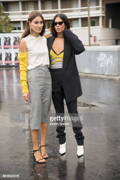 Fashion designers and Founders of fashion label Attico Giorgia Tordini wearing a Calvin Klein top and skirt Gianvito Rossi shoes and Loewe earrings...