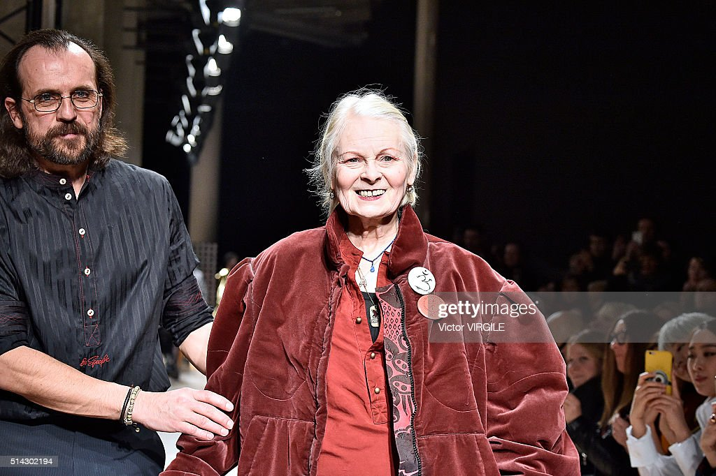 Fashion designers Andreas Kronthaler and Vivienne Westwood walks the runway during the Andreas Kronthaler for Vivienne Westwood fashion show as part...
