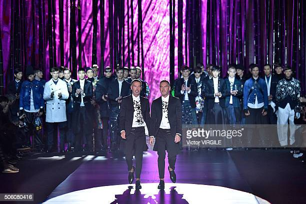 Fashion designers Dean Caten and Dan Caten walks the runway at the Dsquared2 show during Milan Men's Fashion Week Fall/Winter 2016/17 on January 19...