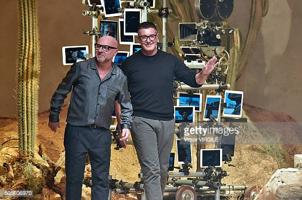 Fashion designers Domenico Dolce and Stefano Gabbana walk the runway at the Dolce Gabbana show during Milan Men's Fashion Week Fall/Winter 2016/17 on...