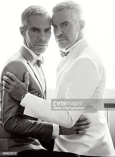 Fashion designers founders and owners of DSquared2 Dean Caten and Dan Caten are photographed for Madame Figaro on May 23 2015 in Cannes France...