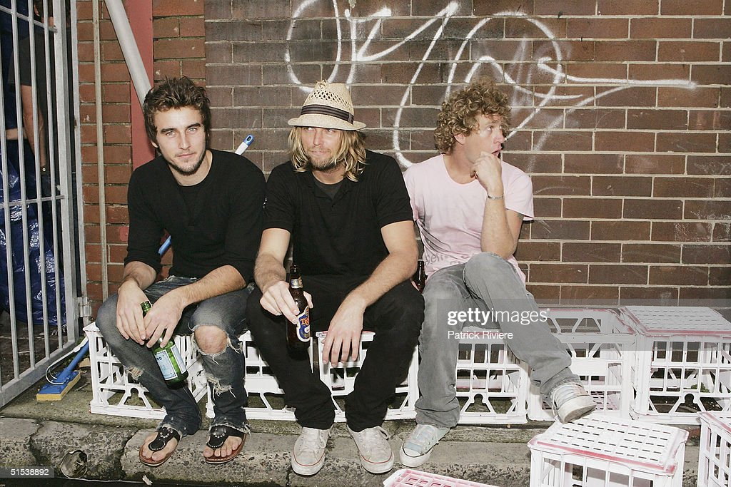 Fashion designers from Tsubi Gareth Moody George Gorrow and Dan Single attend the opening of their first shop 'City Of The Dead' in Bondi Beach on...